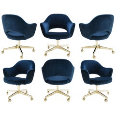 Saarinen Executive Armchairs in Velvet, Swivel Base, 24k Gold Edition, Set of 6