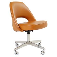 Saarinen Executive Armless Chair in Saddle Leather, Swivel Base