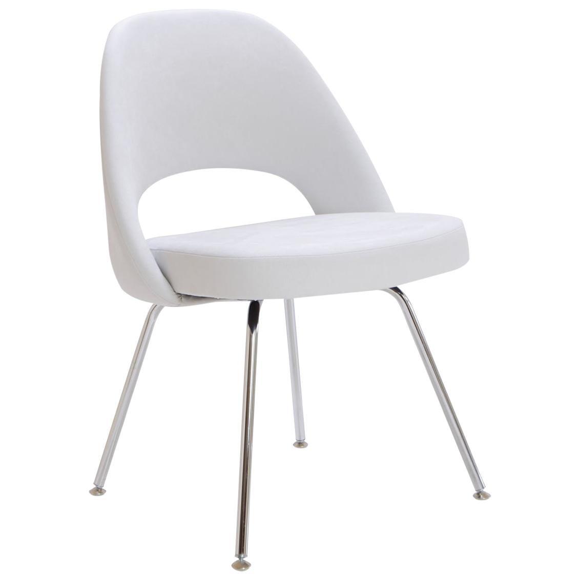 Saarinen Executive Armless Chairs in Dove Luxe Suede by Eero Saarinen for Knoll