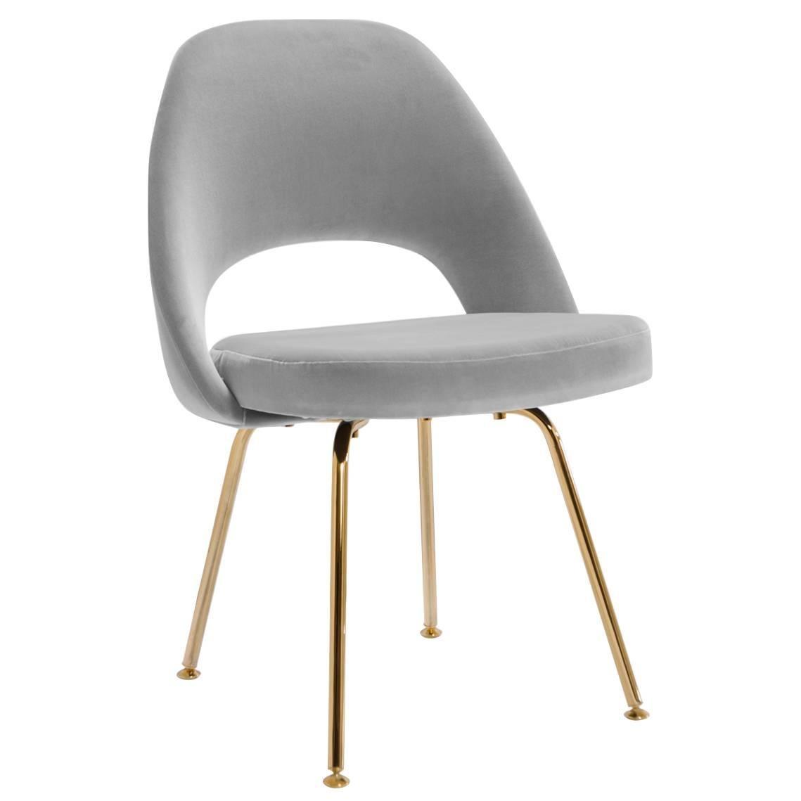 Saarinen Executive Armless Chairs In Dove Velvet 24k Gold Edition