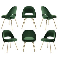 Saarinen Executive Armless Chairs in Emerald Velvet, 24k Gold Edition, Set of 6