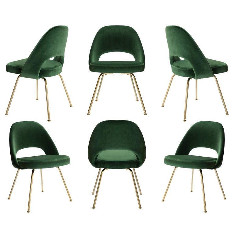 Saarinen Executive Armless Chairs in Emerald Velvet, 24k Gold Edition, Set of 6 For Sale