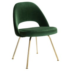 Saarinen Executive Armless Chairs in Emerald Velvet, 24-Karat Gold Edition