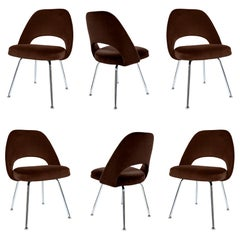 Saarinen Executive Armless Chairs in Espresso Velvet, Set of Six