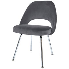 Saarinen Executive Armless Chairs in Gunmetal Velvet