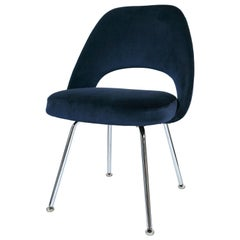 Saarinen Executive Armless Chairs in Navy Velvet
