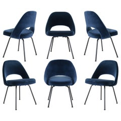 Saarinen Executive Armless Chairs in Navy Velvet, Obsidian Matte, Set of 6