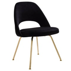 Saarinen Executive Armless Chairs in Noir Velvet, 24k Gold Edition