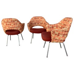 Saarinen for Knoll Executive Arm Chairs in Custom Order Contemporary Fabric