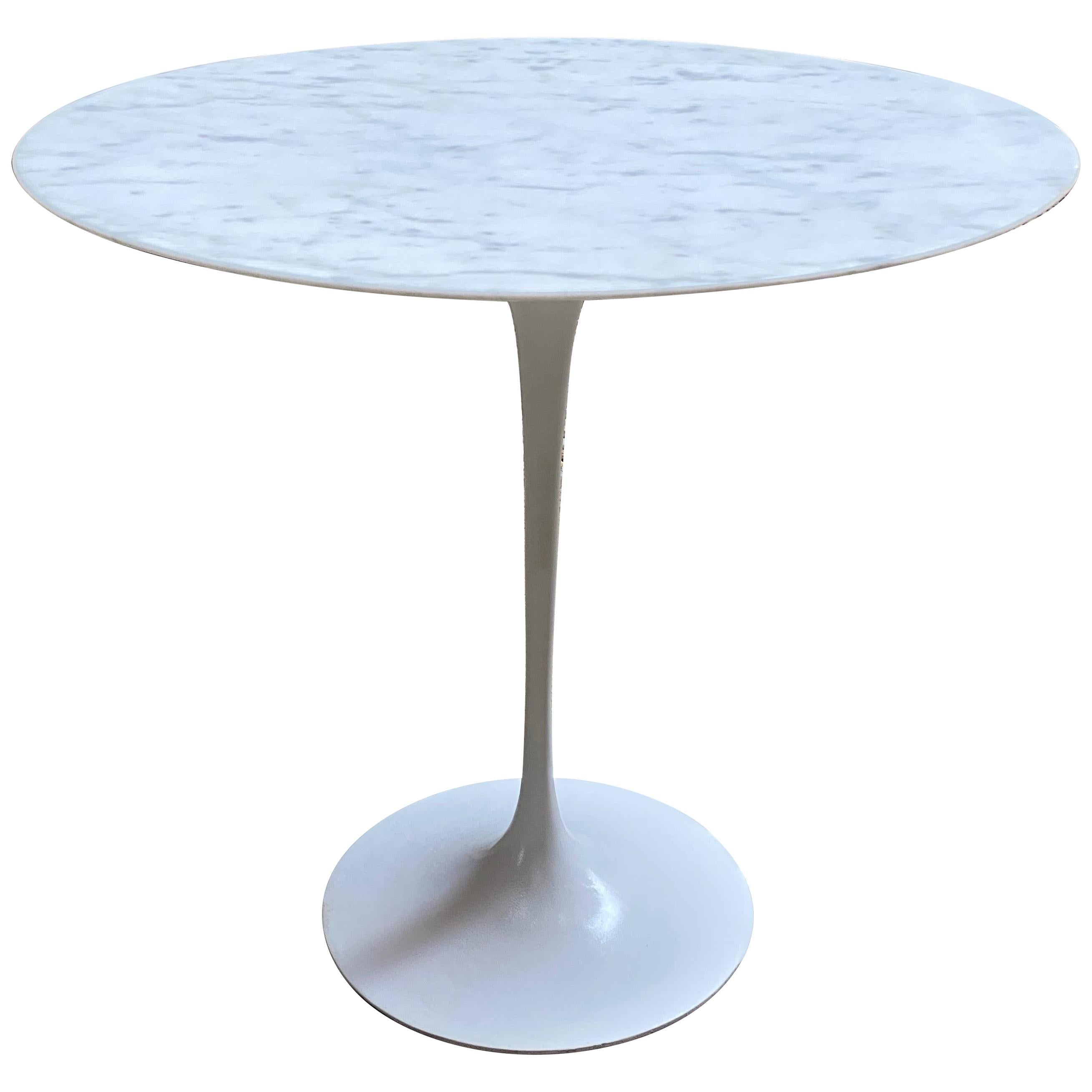Saarinen for Knoll Ovoid Marble Tulip Base End Table