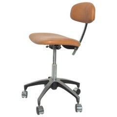 Cognac Leather Adjustable Office Task Desk Chair  Saarinen Knoll Eames 1960s