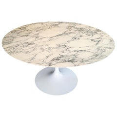 Saarinen Knoll Round Tulip Black White Marble Table, 2010