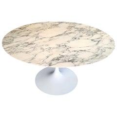 Saarinen Knoll Round Tulip Black White Marble Table, 2010