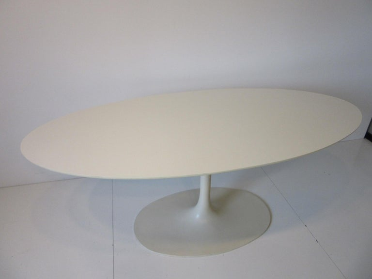 American Saarinen Styled Tulip Based Table Desk by Maurice Burke for Burke International For Sale