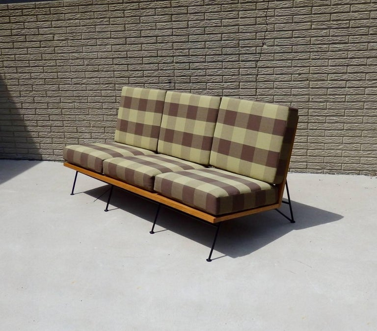 Mid-Century Modern Saarinen Swanson Wrought Iron with Wood Frame Couch For Sale