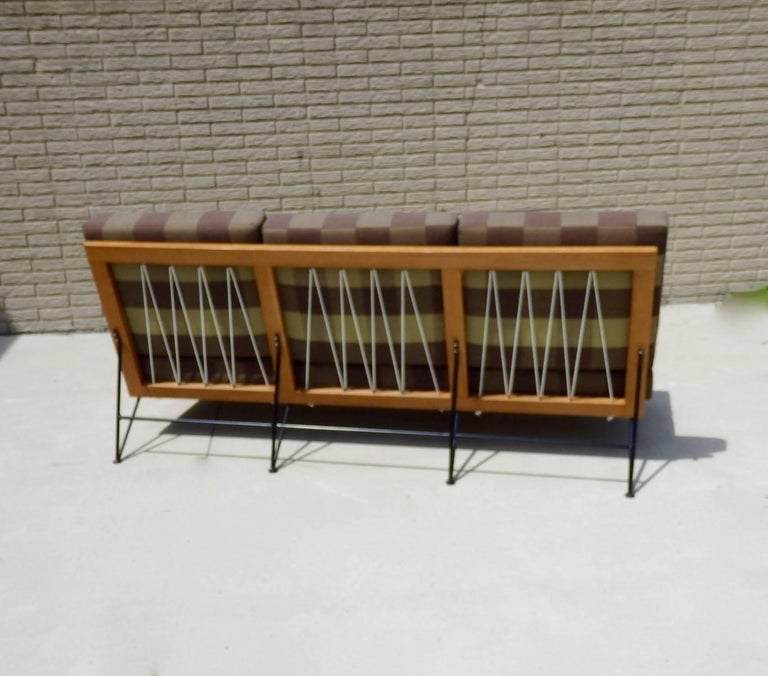 Hand-Crafted Saarinen Swanson Wrought Iron with Wood Frame Couch For Sale
