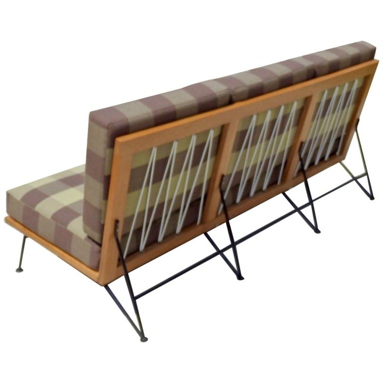 Saarinen Swanson Wrought Iron with Wood Frame Couch For Sale