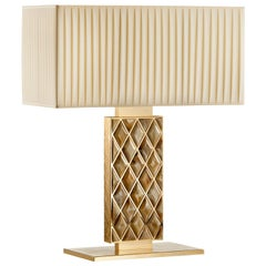 Saba Table Lamp in Hand Engraved 24k Gold-Plated Brass with Horn Gems, Mod 1722