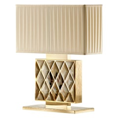 Saba Table Lamp in Hand Engraved 24k Gold Plated Brass with Horn Gems, Mod 1723