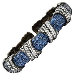 Sabbadini 12.05 Carats Diamond Sapphire 18 Karat Black Gold Italian Cuff Bracele