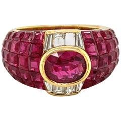 Sabbadini 18 Karat Yellow Gold, 6.26 Carat Ruby and .75 Carat Diamond Ring