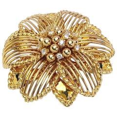 Sabbadini 18 Karat Yellow Gold and Diamonds Large Flower Brooch