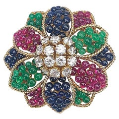 Sabbadini 18 Karat Yellow Gold Flower Brooch with Diamonds and Beaded Gem Stones