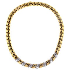 Sabbadini 18 Karat Yellow White Gold Diamonds Twisted Style Choker Necklace