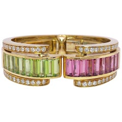 Sabbadini 18 KT YG Retro Cuff Bracelet with Diamonds, Pink and Green Tourmaline