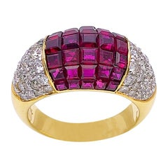 Sabbadini 18K Gold Ring with 4.90 Carat of Invisibly Set Rubies and Diamonds