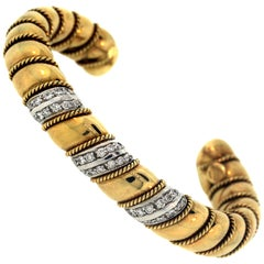 Sabbadini 18K Yellow White Two-Tone Gold Diamond Twisted Style Bangle Bracelet