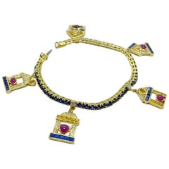 Sabbadini 18 Karat Gold Bracelet with Diamond, Ruby and Sapphire House Charms