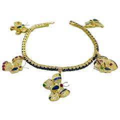 Sabbadini 18KT YG Butterfly Charm Bracelet with Diamonds,Sapphire, Ruby, Emerald