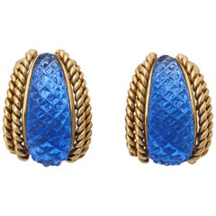 Sabbadini 1980s Quilted Blue Rock Crystal and Textured Gold Design Earclips