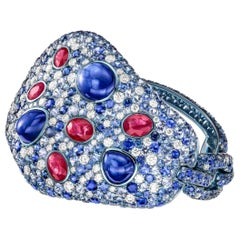 Sabbadini 51 Carat Blue Sapphire Titanium Bracelet with Rubies and Diamonds
