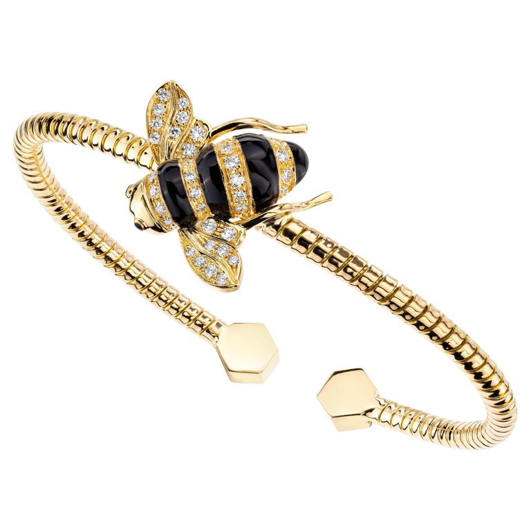 Sabbadini Baby Bee Laquer & Gold Bracelet For Sale