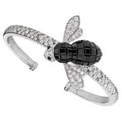 Sabbadini Bee Bracelet in Titanium, Diamonds & Black Sapphires
