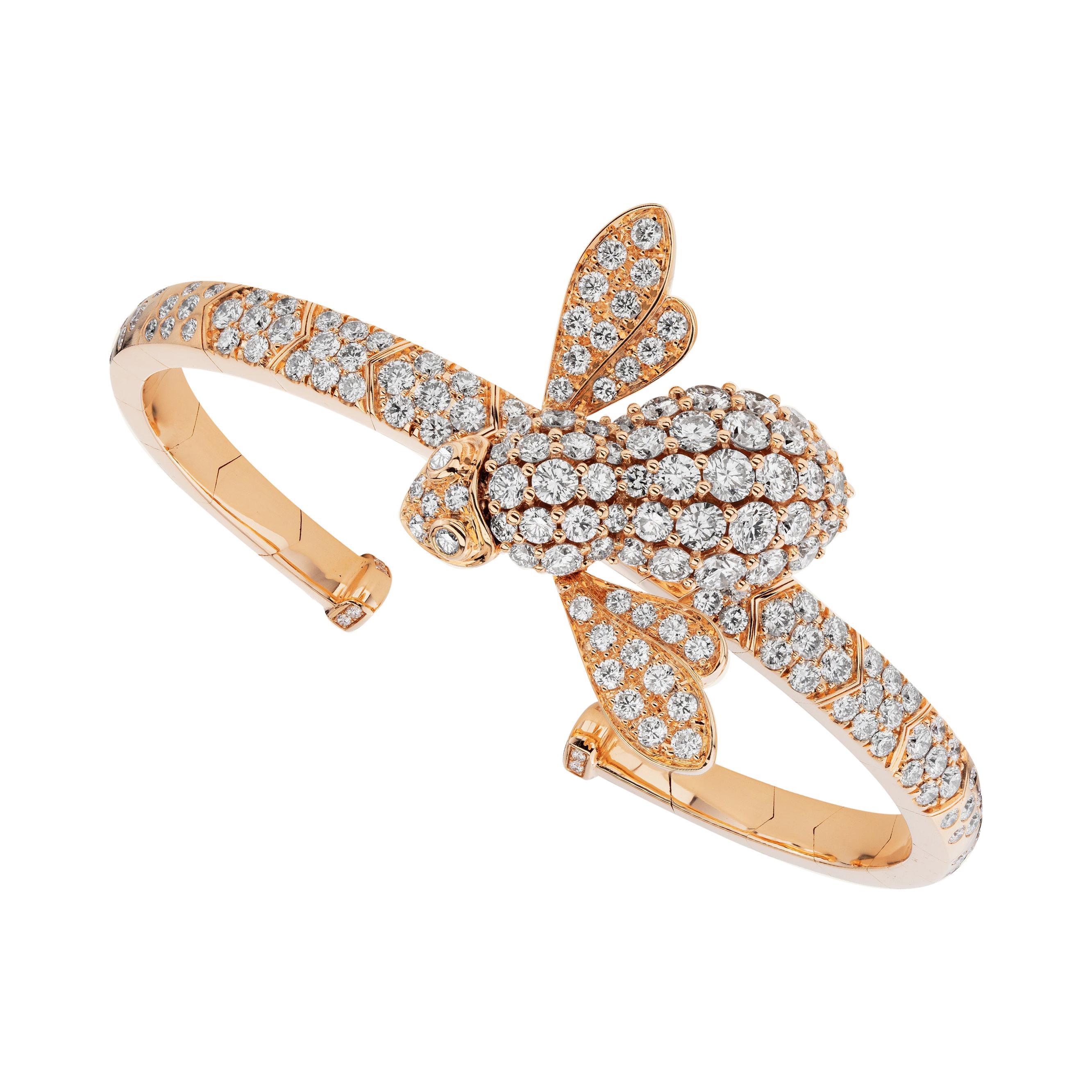 Sabbadini Bee Bracelet in Titanium, Diamonds & Pink Gold