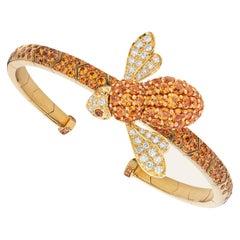 Sabbadini Bee Bracelet in Titanium, Orange Sapphires & Gold