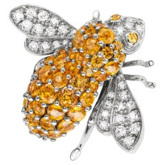 Sabbadini Bee Brooch in Citrines with Diamonds