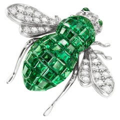 Sabbadini Bee Brooch Invisible Setting in Green Garnets with Diamonds