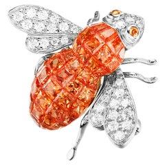 Sabbadini Bee Brooch Invisible Setting in Orange Sapphires with Diamonds