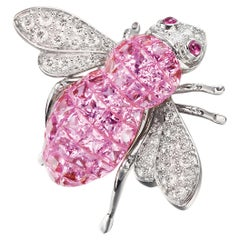 Sabbadini Bee Brooch Invisible Setting in Pink Sapphires with Diamonds
