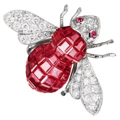 Sabbadini Bee Brooch Invisible Setting in Rubies with Diamonds