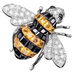 Sabbadini Bee Brooch Invisible Setting in Yellow & Black Sapphires with Diamonds