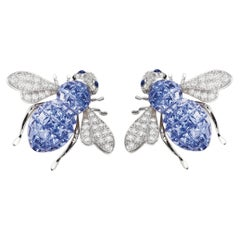 Sabbadini Bee Earrings, Invisible Setting Light Blue Sapphires