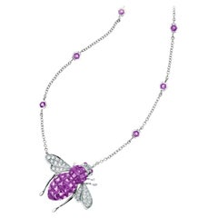 Sabbadini Bee Necklace, Invisible Setting Amethysts