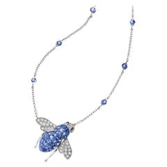 Sabbadini Bee Necklace, Invisible Setting Light Blue Sapphires