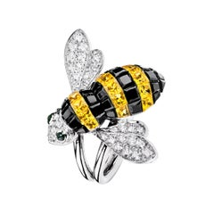 Sabbadini Bee Ring Invisible Setting in Yellow & Black Sapphires with Diamonds