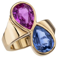 Sabbadini Blue and Pink Sapphire Gold Ring